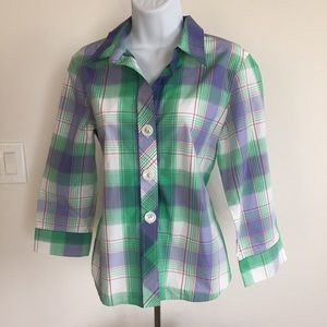 Foxcroft Wrinkle Free Plaid Large Button Shirt 12